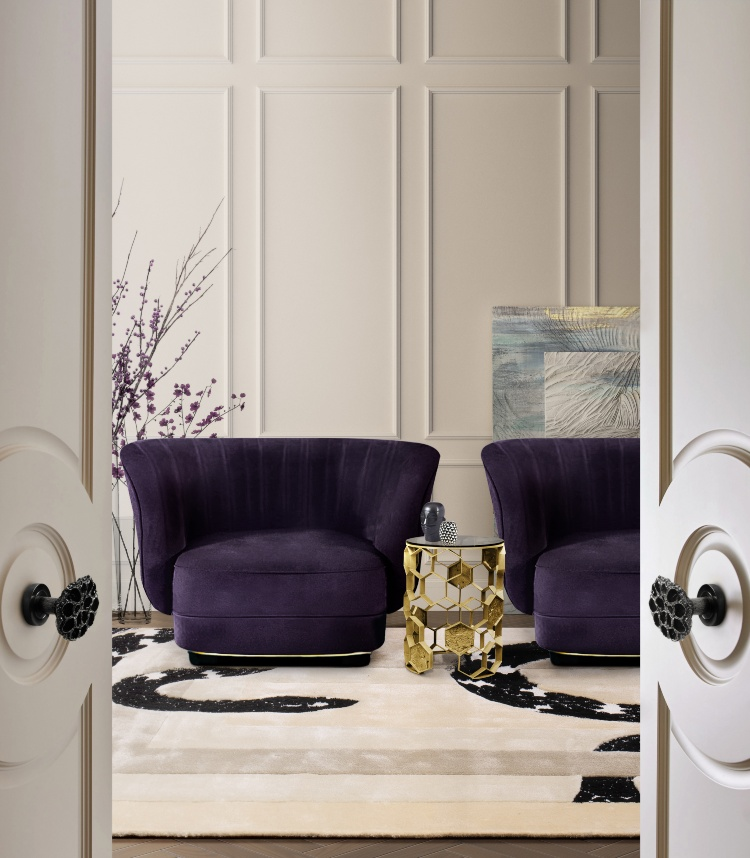 2020 Trends - Purple Shades 2020 trends Purple Shade Upholstery Inspirations elk armchair manuka side